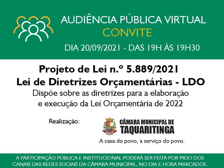 Audiência Pública da LDO será no dia 20